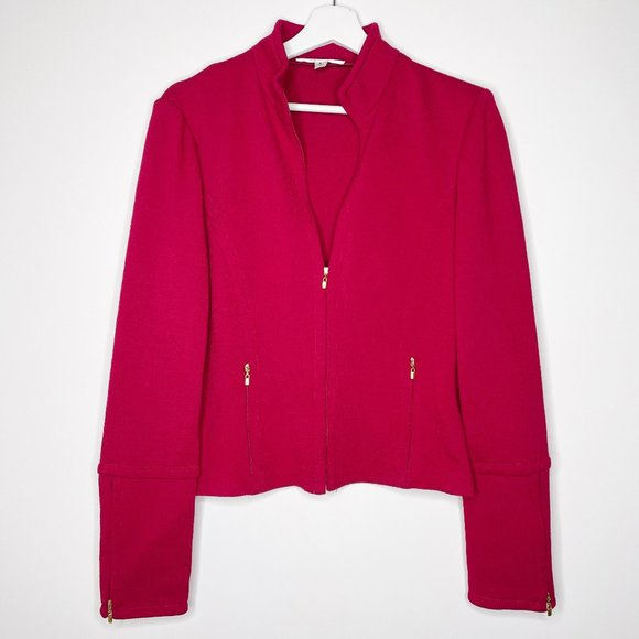 ST. JOHN Red Zip Up Jacket